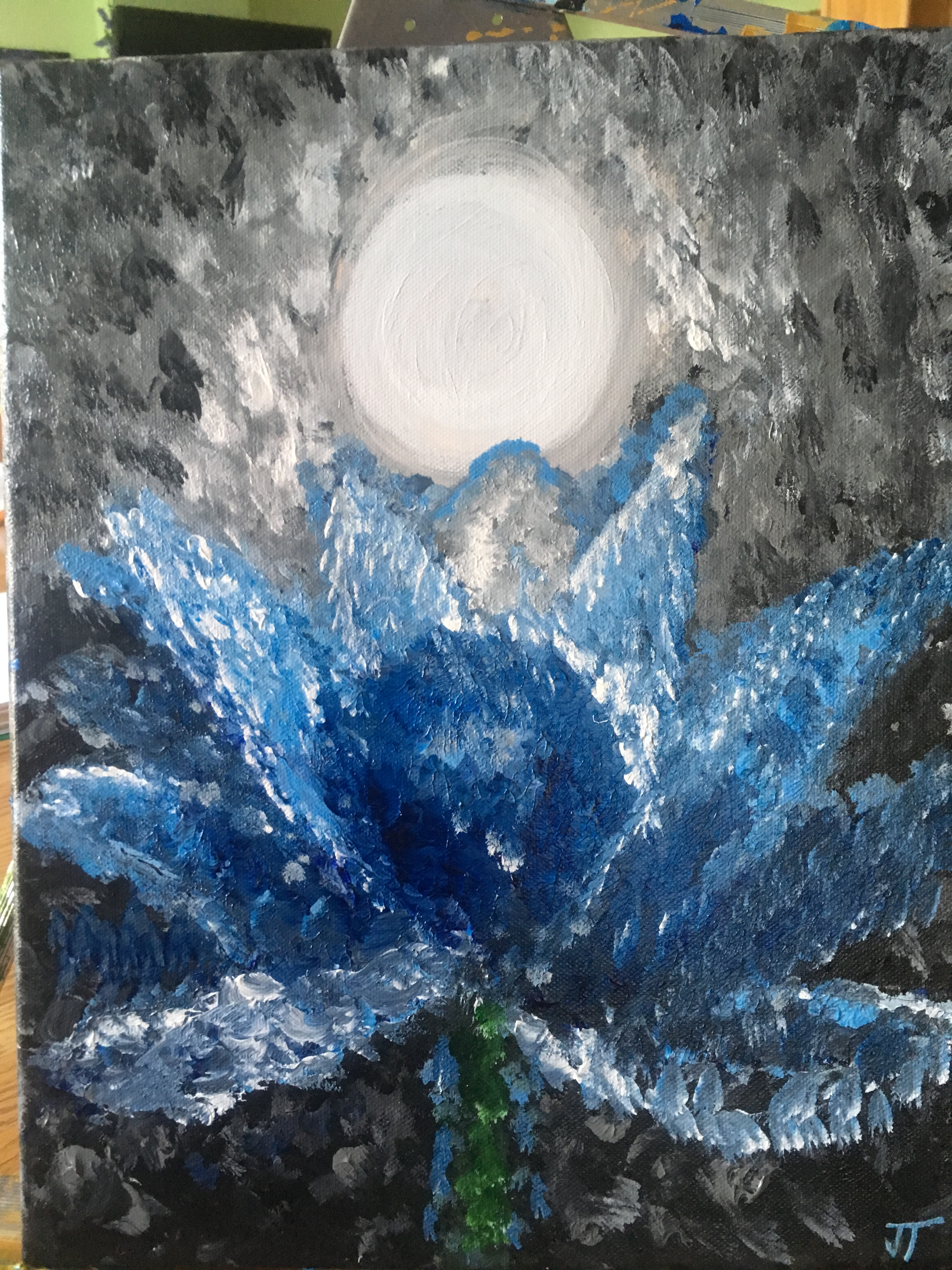 Moon With Blue Lotus Flower Janets Art Planet